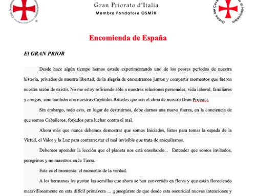 Mensaje Pascua 2020 Gran Prior Italia